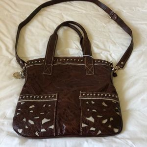 American West Tooled Leather Hand Bag.